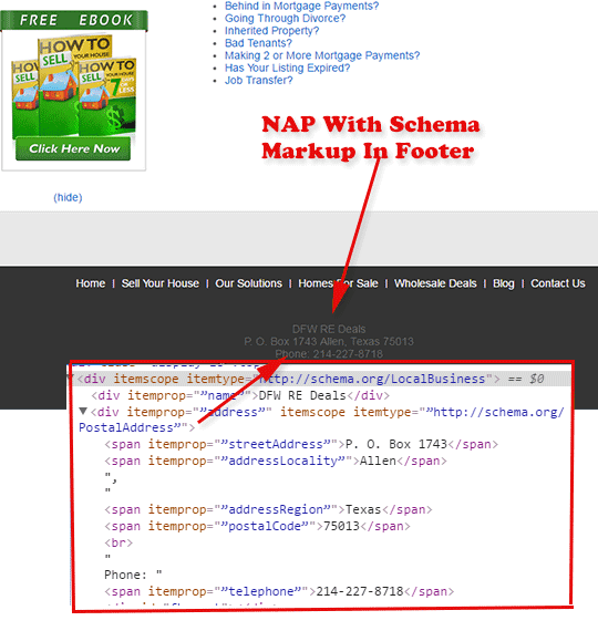 NAP with schema markup on real estate investing website