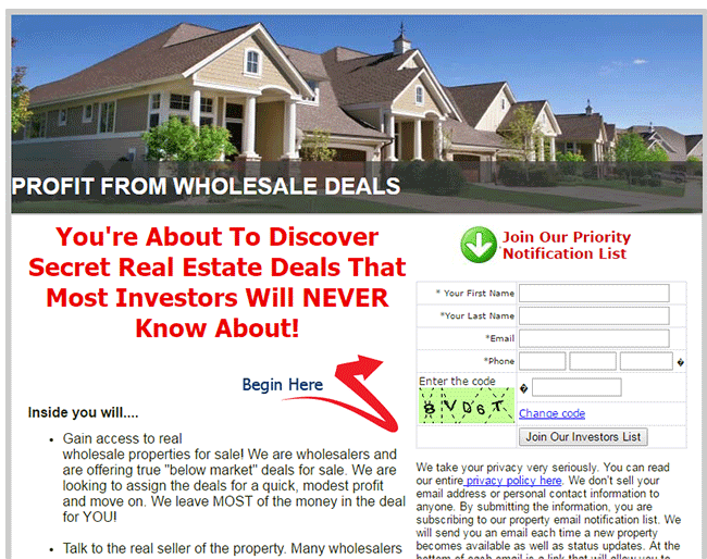 Squeeze page for wholesale real estate investor buyers