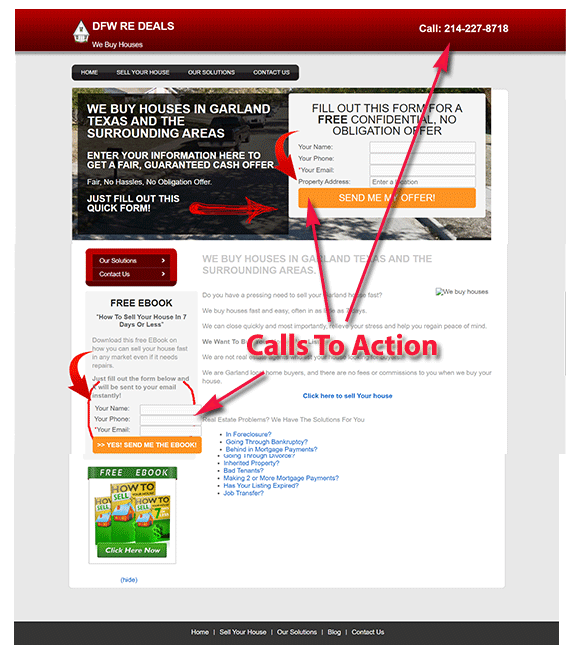 Multiple calls to action
