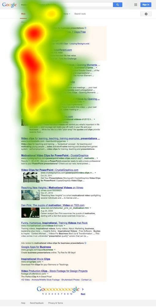 Moz search heat map