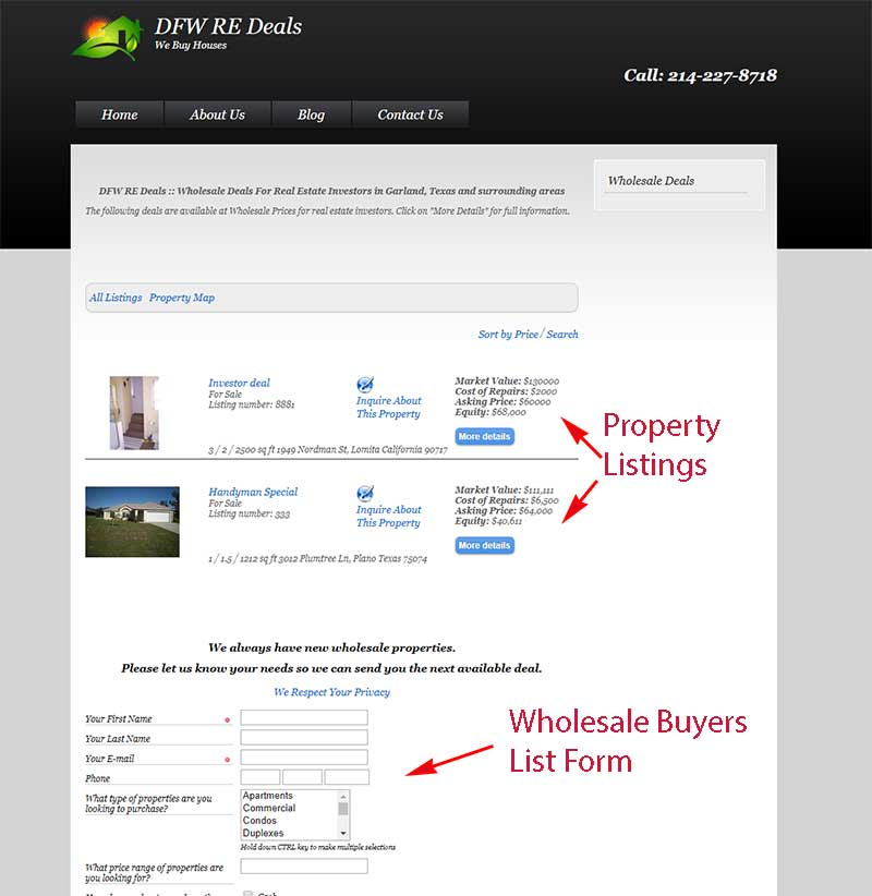 Wholesale real estate investor websites